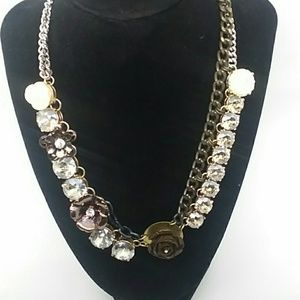 LOFT Multistrand Floral Silver-Tone Necklace